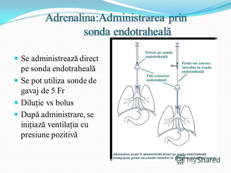 Adrenalina:Administrarea prin sonda endotraheală Se administrează direct pe sonda endotraheală Se pot utiliza sonde de gavaj de 5 Fr Diluţie vs bolus După administrare, se iniţiază ventilaţia cu presiune pozitivă