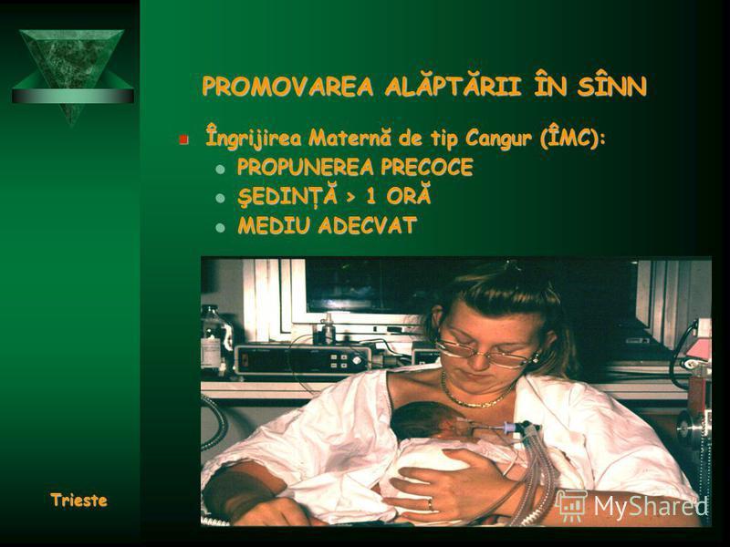 PROMOVAREA ALĂPTĂRII ÎN SÎNN Îngrijirea Maternă de tip Cangur (ÎMC): Îngrijirea Maternă de tip Cangur (ÎMC): PROPUNEREA PRECOCE PROPUNEREA PRECOCE ŞEDINŢĂ > 1 ORĂ ŞEDINŢĂ > 1 ORĂ MEDIU ADECVAT MEDIU ADECVAT Trieste