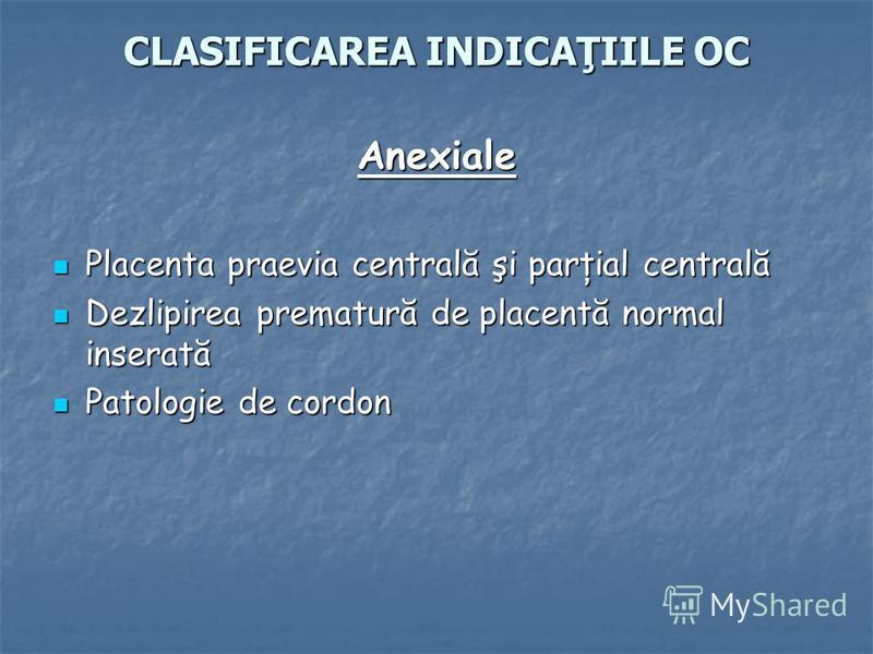 CLASIFICAREA INDICAŢIILE OC Anexiale Placenta praevia centrală şi parţial centrală Placenta praevia centrală şi parţial centrală Dezlipirea prematură de placentă normal inserată Dezlipirea prematură de placentă normal inserată Patologie de cordon Pat