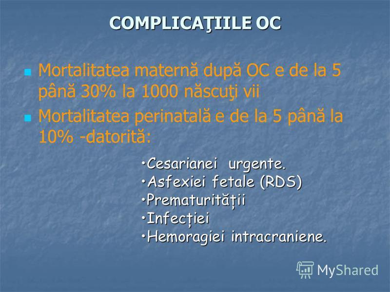 COMPLICAŢIILE OC Mortalitatea maternă după OC e de la 5 până 30% la 1000 născuţi vii Mortalitatea perinatală e de la 5 până la 10% -datorită: Cesarianei urgente.Cesarianei urgente. Asfexiei fetale (RDS)Asfexiei fetale (RDS) PrematurităţiiPrematurităţ