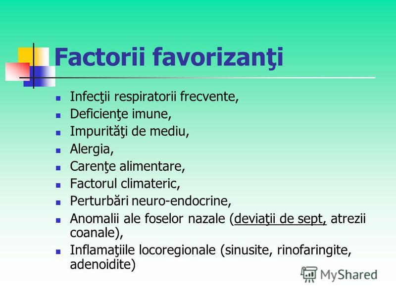 Factorii favorizanţi Infecţii respiratorii frecvente, Deficienţe imune, Impurităţi de mediu, Alergia, Carenţe alimentare, Factorul climateric, Perturbări neuro-endocrine, Anomalii ale foselor nazale (deviaţii de sept, atrezii coanale), Inflamaţiile l