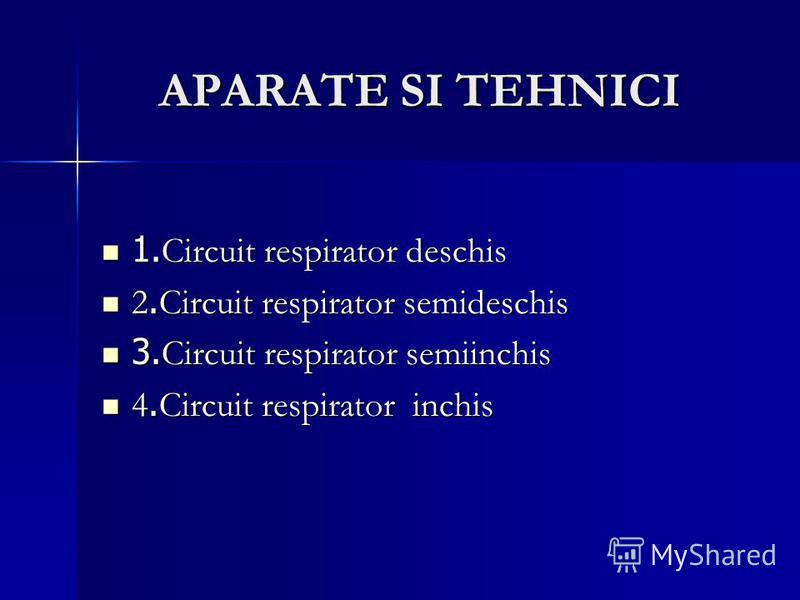 APARATE SI TEHNICI APARATE SI TEHNICI 1. Circuit respirator deschis 1. Circuit respirator deschis 2. Circuit respirator semideschis 2. Circuit respirator semideschis 3. Circuit respirator semiinchis 3. Circuit respirator semiinchis 4. Circuit respira