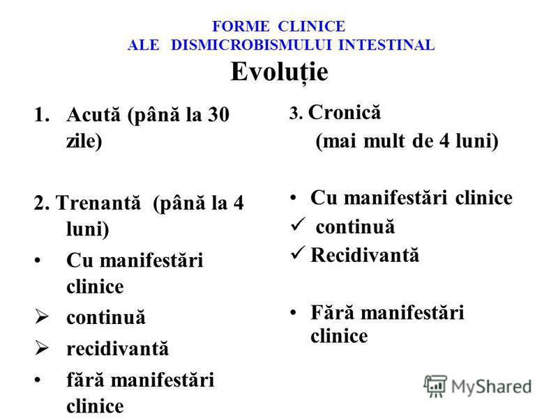 FORME CLINICE ALE DISMICROBISMULUI INTESTINAL Evoluţie 1.Acută (până la 30 zile) 2. Trenantă (până la 4 luni) Cu manifestări clinice continuă recidivantă fără manifestări clinice 3. Cronică (mai mult de 4 luni) Cu manifestări clinice continuă Recidiv