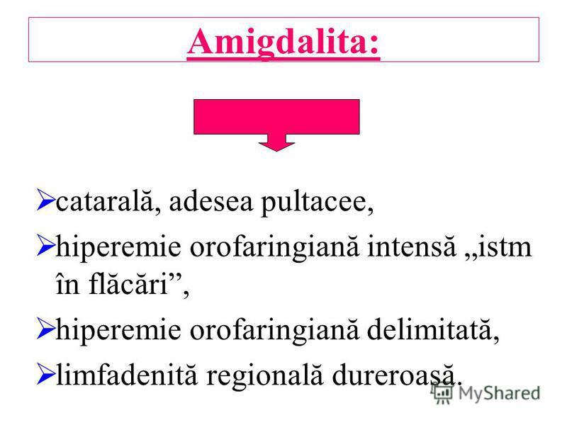Amigdalita: catarală, adesea pultacee, hiperemie orofaringiană intensă istm în flăcări, hiperemie orofaringiană delimitată, limfadenită regională dureroasă.