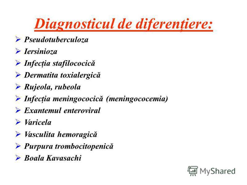 Diagnosticul de diferenţiere: Pseudotuberculoza Iersinioza Infecţia stafilococică Dermatita toxialergică Rujeola, rubeola Infecţia meningococică (meningococemia) Exantemul enteroviral Varicela Vasculita hemoragică Purpura trombocitopenică Boala Kavas