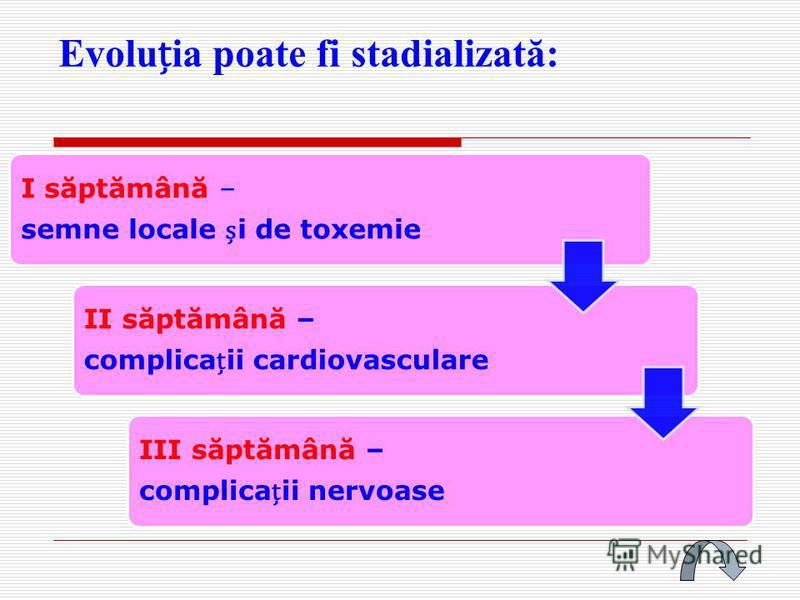 Evoluia poate fi stadializată: I săptămână – semne locale i de toxemie II săptămână – complicaii cardiovasculare III săptămână – complicaii nervoase