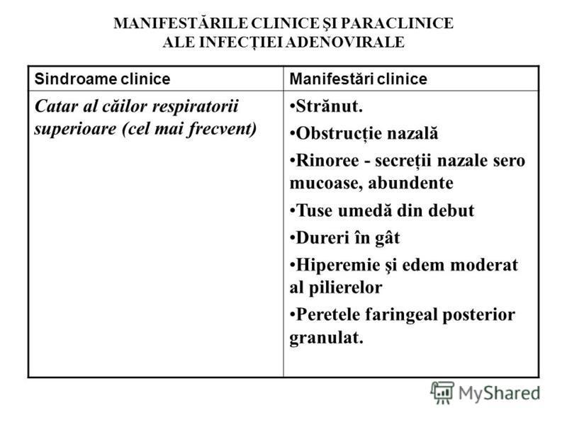 MANIFESTĂRILE CLINICE ŞI PARACLINICE ALE INFECŢIEI ADENOVIRALE Sindroame cliniceManifestări clinice Catar al căilor respiratorii superioare (cel mai frecvent) Strănut. Obstrucţie nazală Rinoree - secreţii nazale sero mucoase, abundente Tuse umedă din