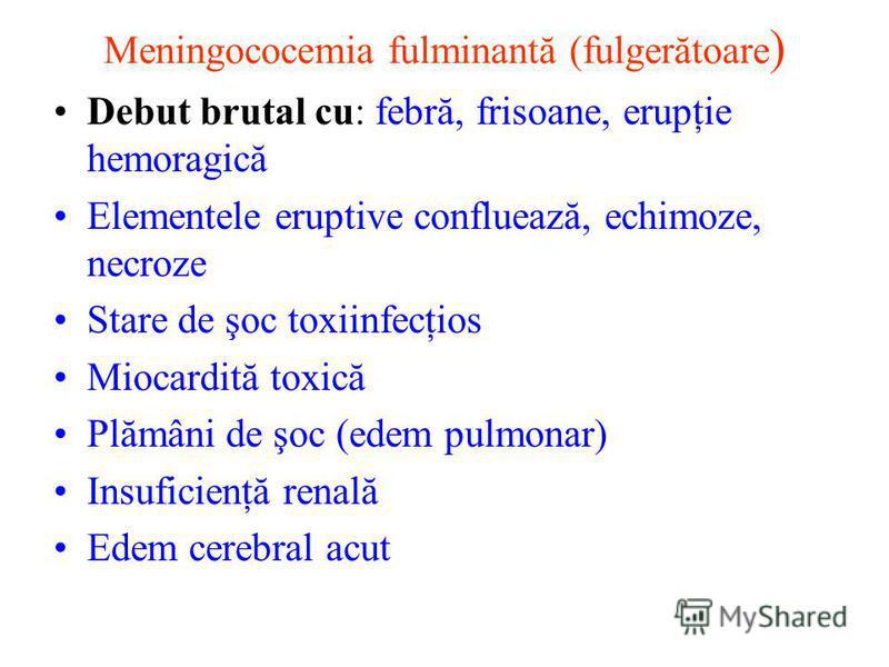 Meningococemia fulminantă (fulgerătoare ) Debut brutal cu: febră, frisoane, erupţie hemoragică Elementele eruptive confluează, echimoze, necroze Stare de şoc toxiinfecţios Miocardită toxică Plămâni de şoc (edem pulmonar) Insuficienţă renală Edem cere