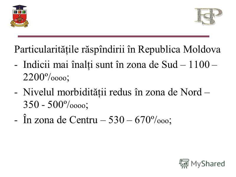 Particularităţile răspîndirii în Republica Moldova -Indicii mai înalţi sunt în zona de Sud – 1100 – 2200º/ oooo ; -Nivelul morbidităţii redus în zona de Nord – 350 - 500º/ oooo ; -În zona de Centru – 530 – 670º/ ooo ;