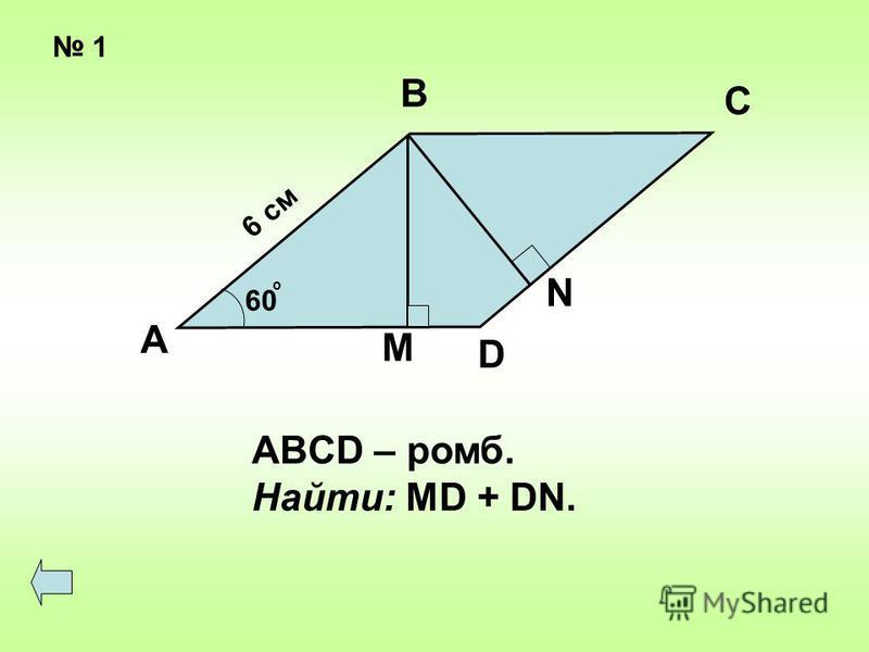 1 6 см 60 о А В С D M N ABCD – ромб. Найти: MD + DN.