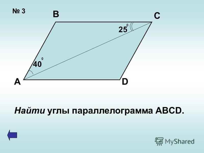 3 А В С D 40 0 25 0 Найти углы параллелограмма ABCD.