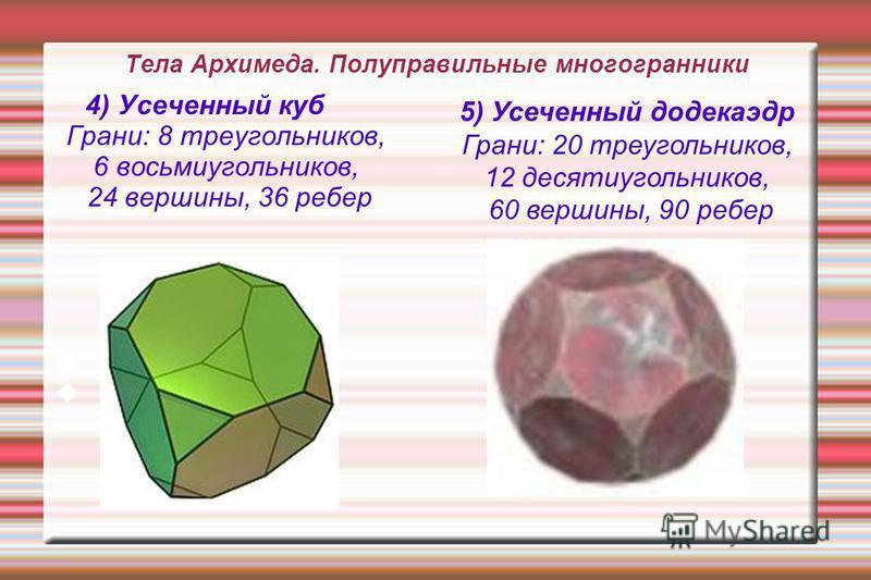 Тела Архимеда. Полуправильные многогранники 4) Усеченный куб Грани: 8 треугольников, 6 восьмиугольников, 24 вершины, 36 ребер 5) Усеченный додекаэдр Грани: 20 треугольников, 12 десятиугольников, 60 вершины, 90 ребер