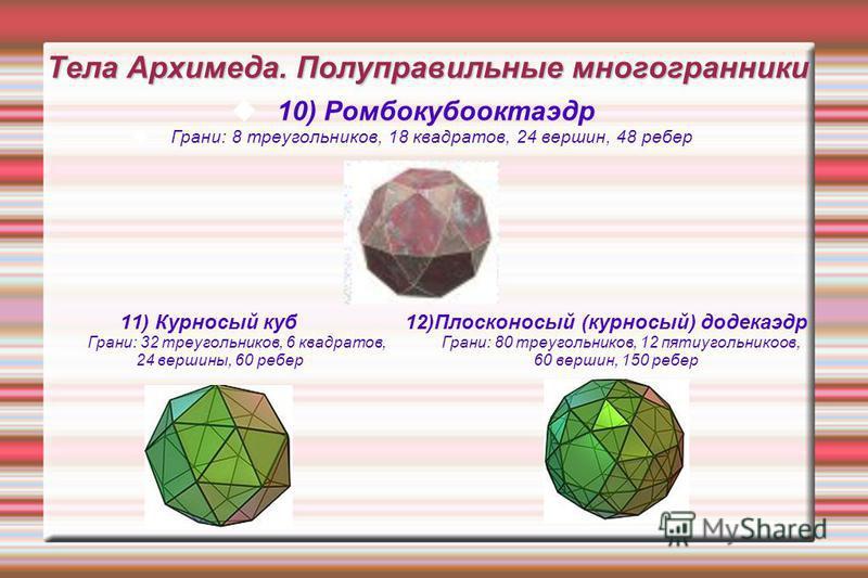 Тела Архимеда. Полуправильные многогранники 10) Ромбокубооктаэдр Грани: 8 треугольников, 18 квадратов, 24 вершин, 48 ребер 11) Курносый куб 12)Плосконосый (курносый) додекаэдр Грани: 32 треугольников, 6 квадратов, Грани: 80 треугольников, 12 пятиугол