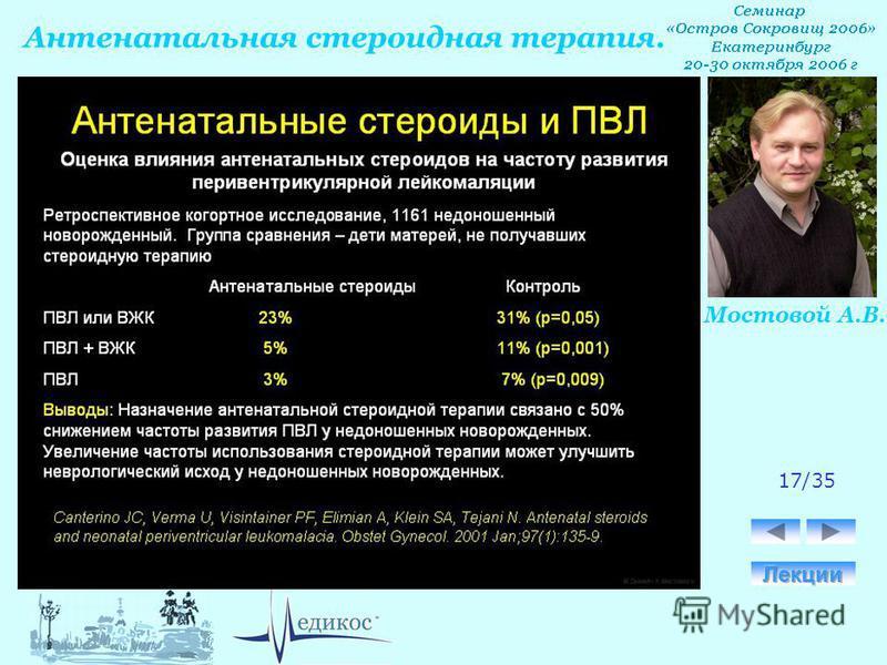 Антенатальная стероидная терапия. Мостовой А.В. 17/35