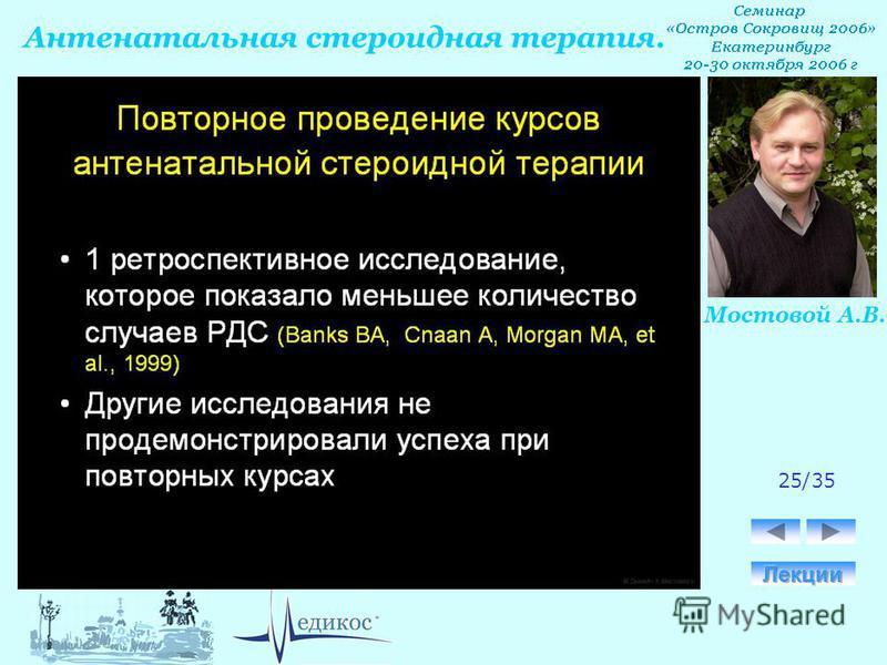 Антенатальная стероидная терапия. Мостовой А.В. 25/35