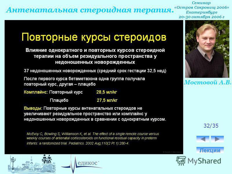Антенатальная стероидная терапия. Мостовой А.В. 32/35