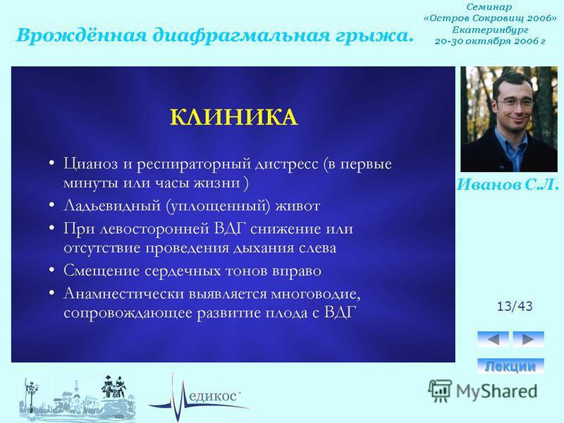Врождённая диафрагмальная грыжа. Иванов С.Л. 13/43