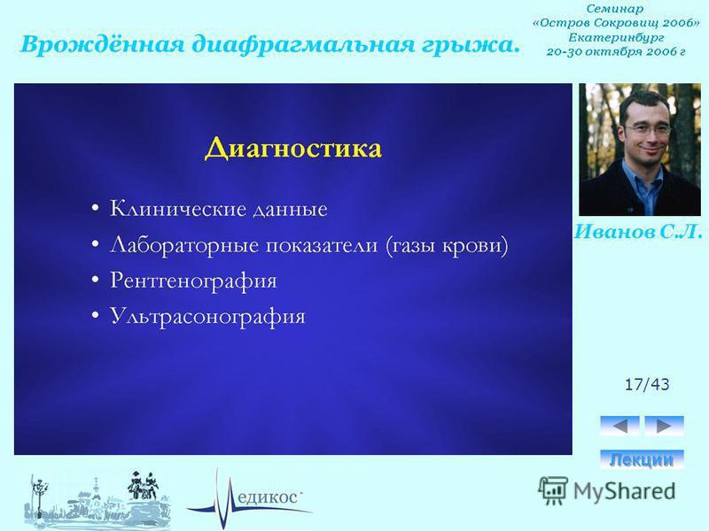 Врождённая диафрагмальная грыжа. Иванов С.Л. 17/43