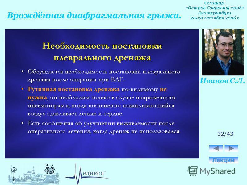 Врождённая диафрагмальная грыжа. Иванов С.Л. 32/43