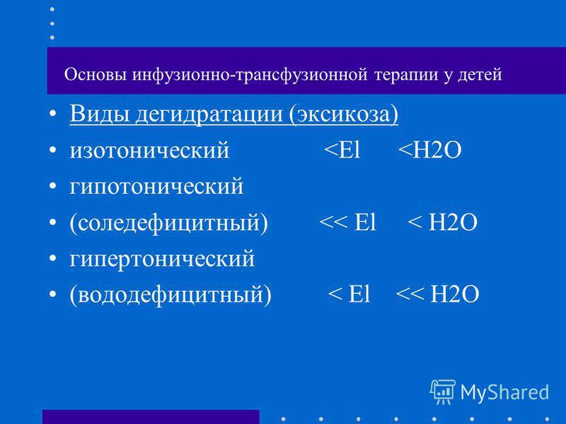 Основы инфузионно-трансфузионной терапии у детей Виды дегидратации (эксикоза) изотонический <El <H2O гипотонический (соледефицитный) << El < H2O гипертонический (вододефицитный) < El << H2O