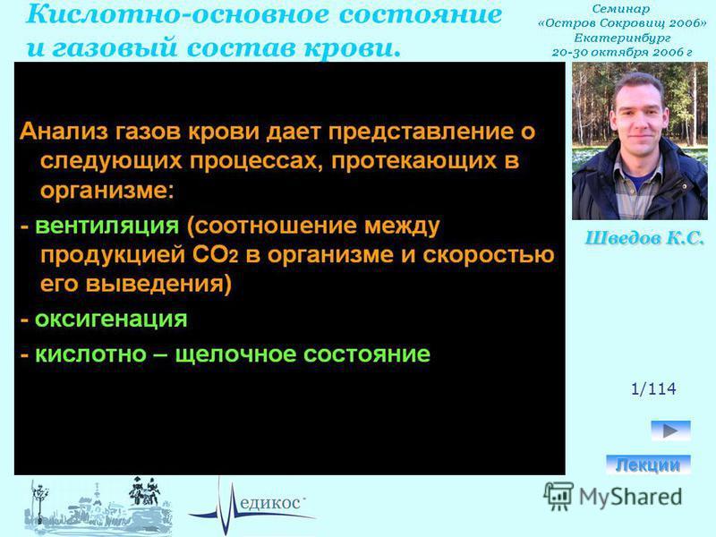 Кислотно-основное состояние и газовый состав крови. Шведов К.С. 1/114
