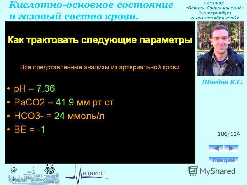 Кислотно-основное состояние и газовый состав крови. Шведов К.С. 106/114