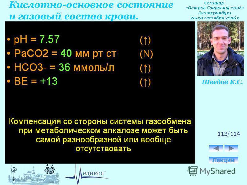 Кислотно-основное состояние и газовый состав крови. Шведов К.С. 113/114