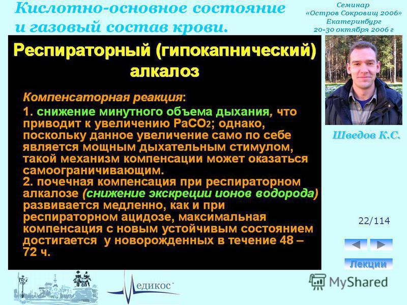 Кислотно-основное состояние и газовый состав крови. Шведов К.С. 22/114