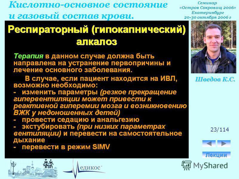 Кислотно-основное состояние и газовый состав крови. Шведов К.С. 23/114