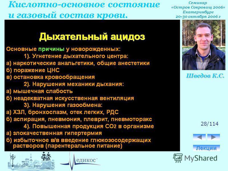Кислотно-основное состояние и газовый состав крови. Шведов К.С. 28/114