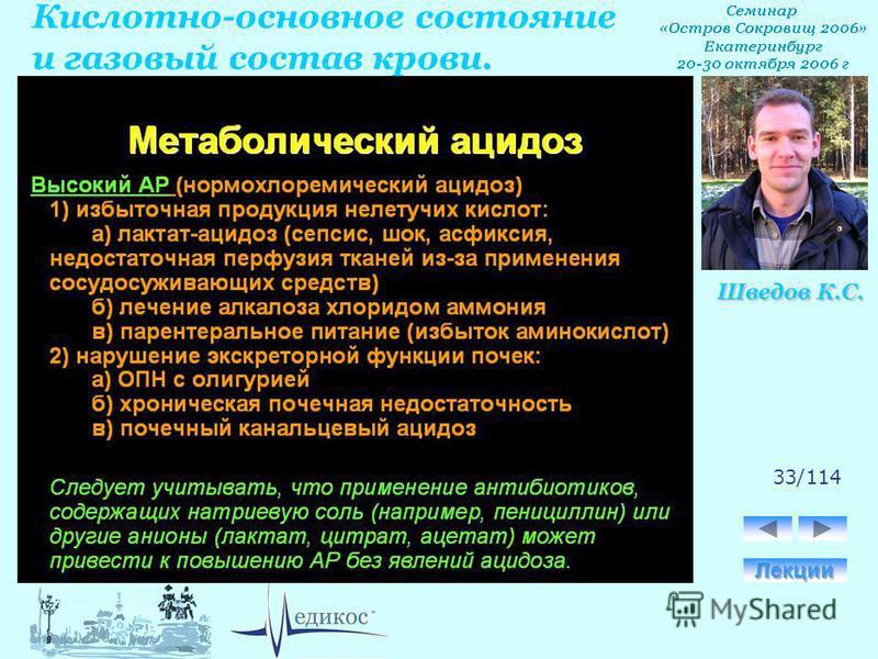 Кислотно-основное состояние и газовый состав крови. Шведов К.С. 33/114