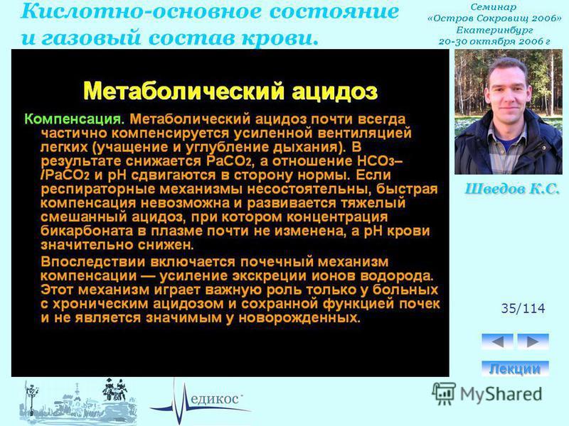 Кислотно-основное состояние и газовый состав крови. Шведов К.С. 35/114