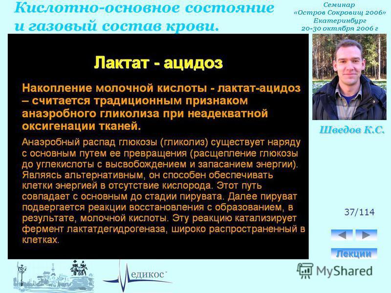 Кислотно-основное состояние и газовый состав крови. Шведов К.С. 37/114