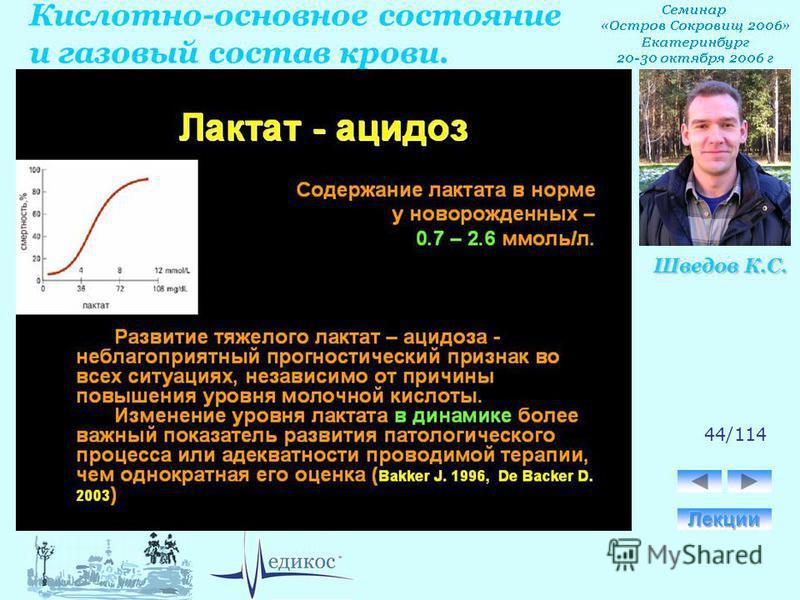 Кислотно-основное состояние и газовый состав крови. Шведов К.С. 44/114
