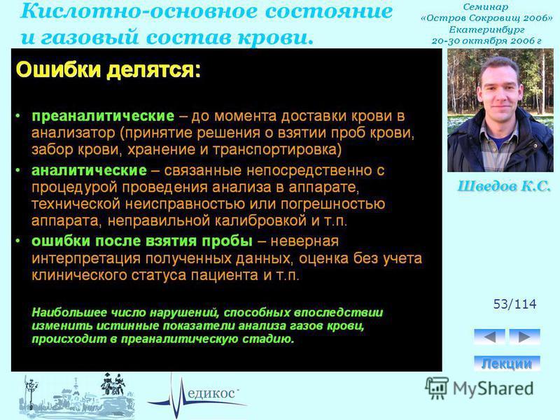 Кислотно-основное состояние и газовый состав крови. Шведов К.С. 53/114