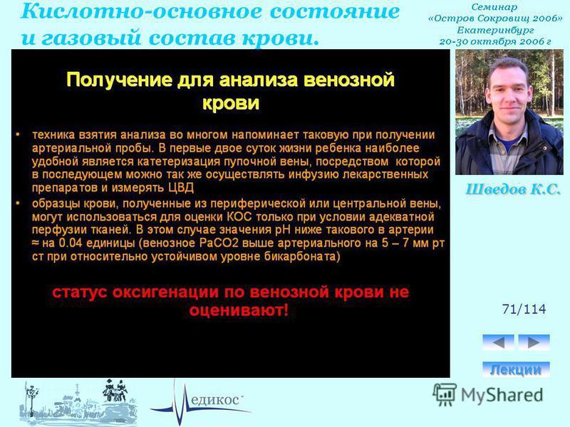 Кислотно-основное состояние и газовый состав крови. Шведов К.С. 71/114