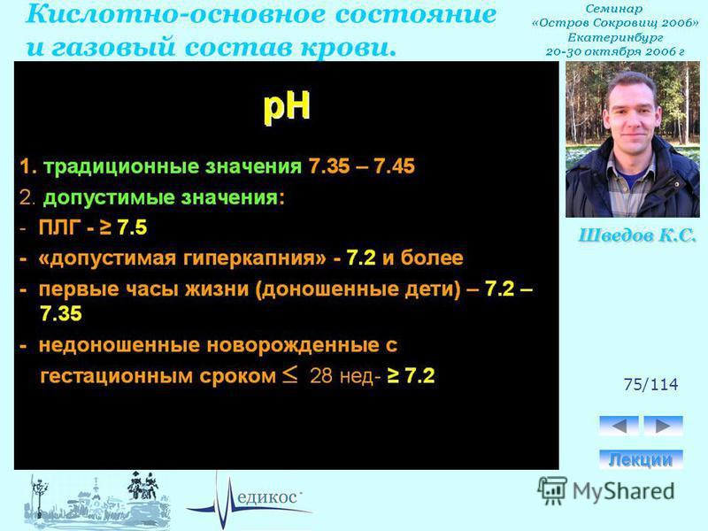 Кислотно-основное состояние и газовый состав крови. Шведов К.С. 75/114