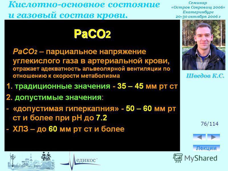 Кислотно-основное состояние и газовый состав крови. Шведов К.С. 76/114