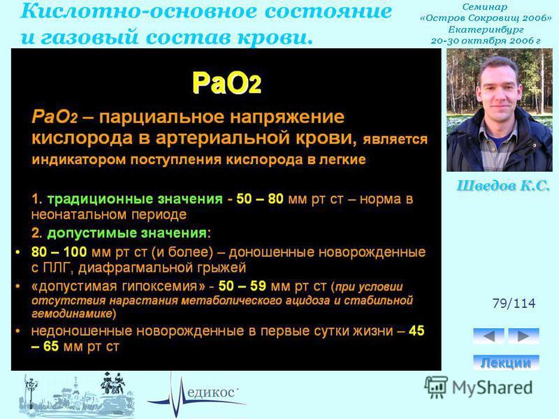Кислотно-основное состояние и газовый состав крови. Шведов К.С. 79/114