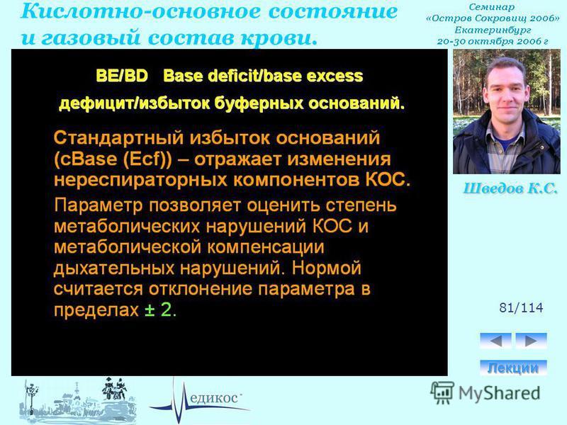 Кислотно-основное состояние и газовый состав крови. Шведов К.С. 81/114