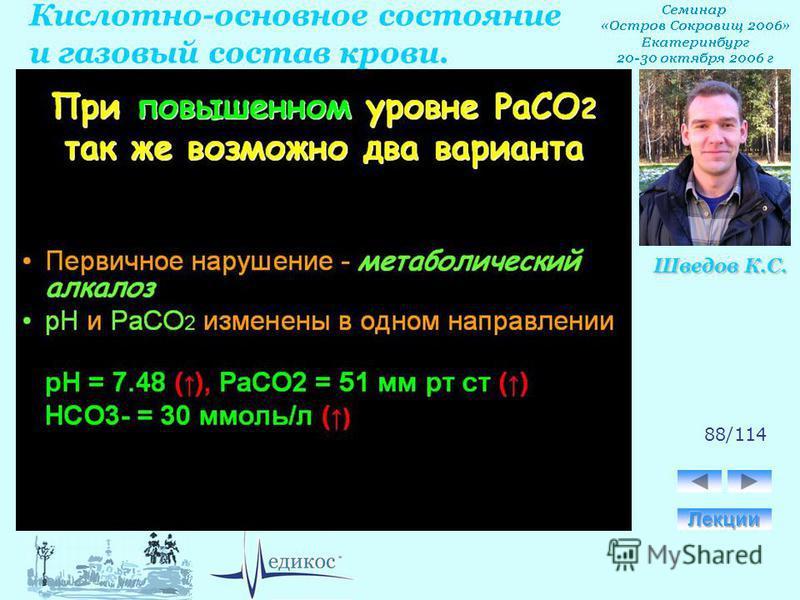 Кислотно-основное состояние и газовый состав крови. Шведов К.С. 88/114