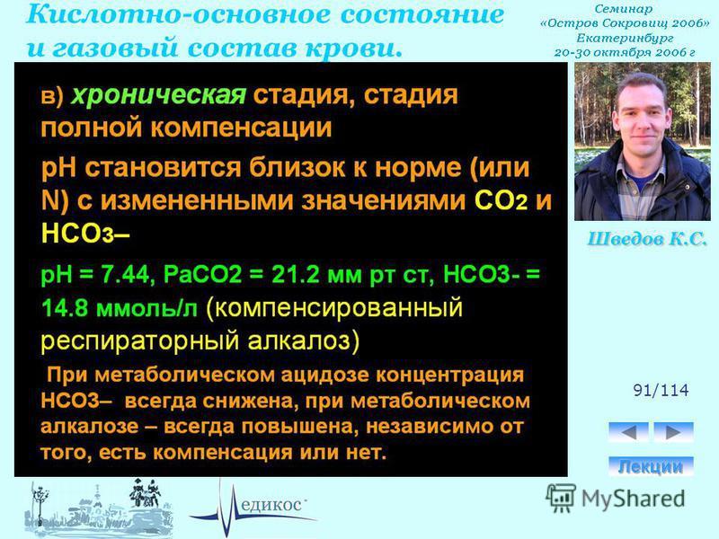 Кислотно-основное состояние и газовый состав крови. Шведов К.С. 91/114