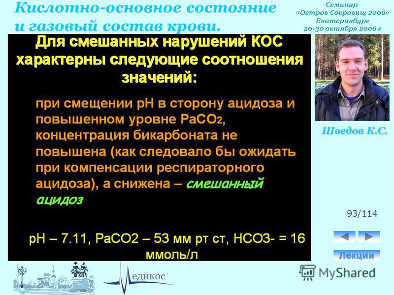 Кислотно-основное состояние и газовый состав крови. Шведов К.С. 93/114