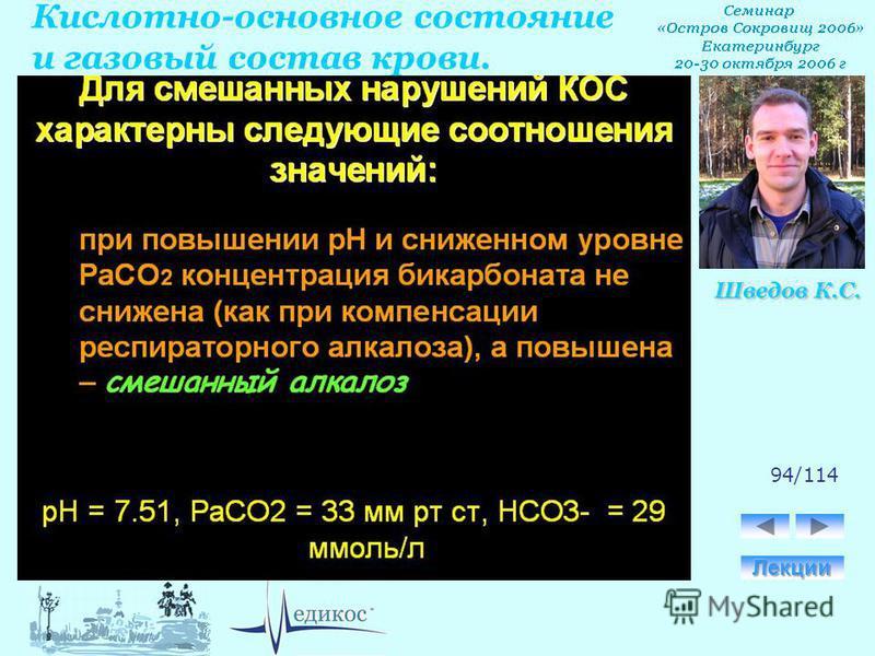 Кислотно-основное состояние и газовый состав крови. Шведов К.С. 94/114