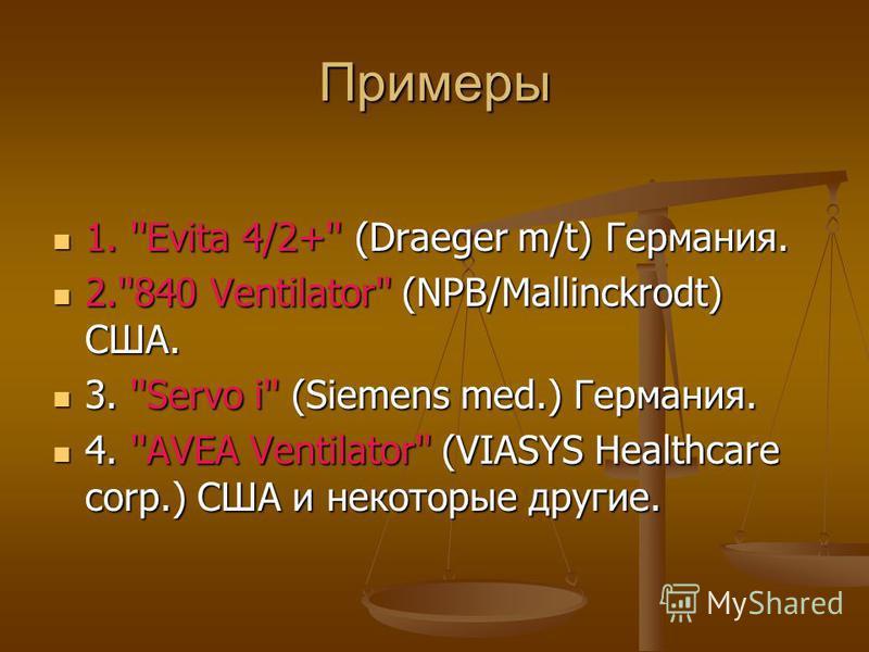 Примеры 1. ''Evita 4/2+'' (Draeger m/t) Германия. 1. ''Evita 4/2+'' (Draeger m/t) Германия. 2.''840 Ventilator'' (NPB/Mallinckrodt) США. 2.''840 Ventilator'' (NPB/Mallinckrodt) США. 3. ''Servo i'' (Siemens med.) Германия. 3. ''Servo i'' (Siemens med.