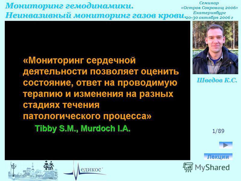 Мониторинг гемодинамики. Неинвазивный мониторинг газов крови. Шведов К.С. 1/89