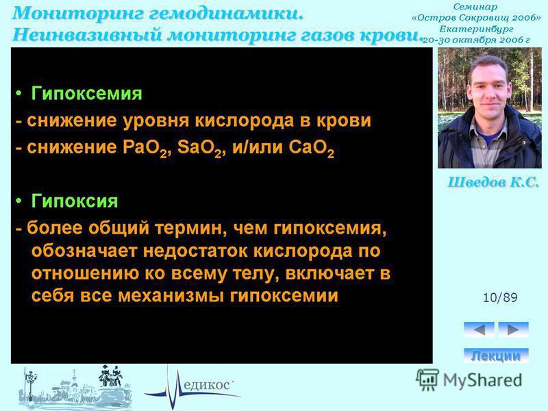 Мониторинг гемодинамики. Неинвазивный мониторинг газов крови. Шведов К.С. 10/89