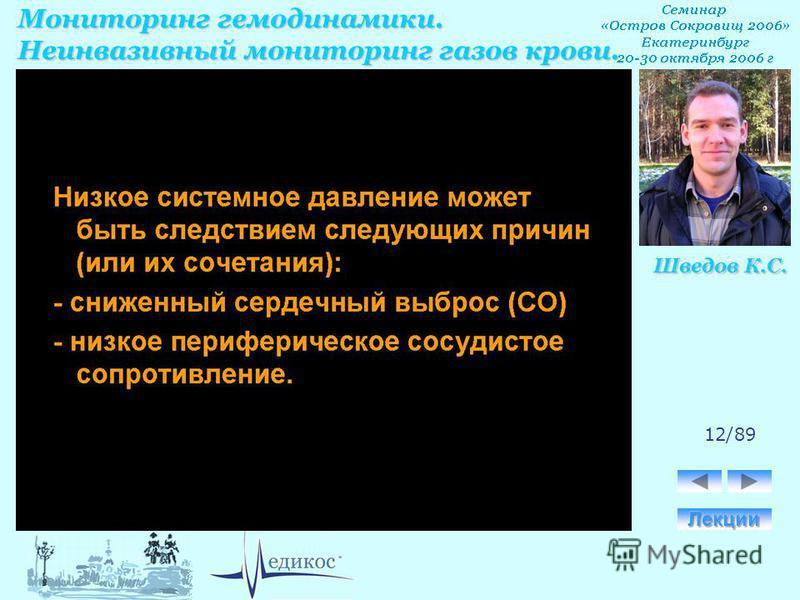 Мониторинг гемодинамики. Неинвазивный мониторинг газов крови. Шведов К.С. 12/89