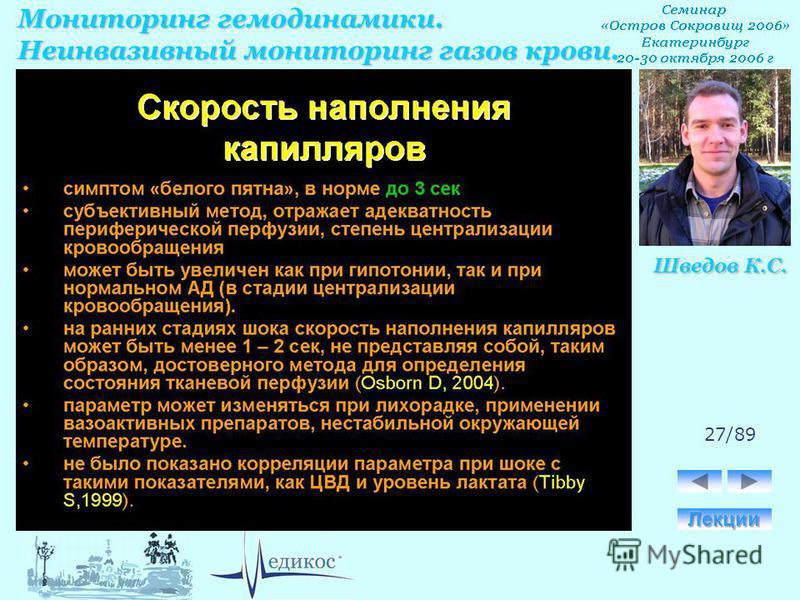 Мониторинг гемодинамики. Неинвазивный мониторинг газов крови. Шведов К.С. 27/89