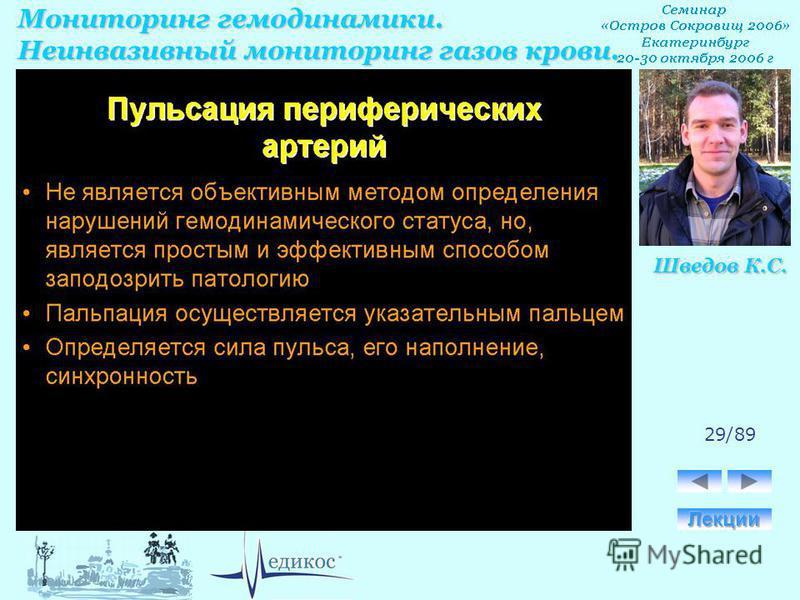 Мониторинг гемодинамики. Неинвазивный мониторинг газов крови. Шведов К.С. 29/89